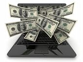 stock photo of money prize  - Black laptop and money  - JPG