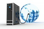 stock photo of intranet  - Server and binnary world  - JPG