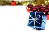 picture of christmas-present  - Christmas present with ornaments and white message area - JPG