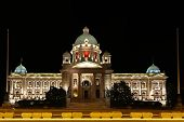 picture of yugoslavia  - Serbian Parliament building in Belgrade at night - JPG