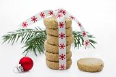 Christmas Cookies piled up over grey background