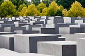 stock photo of hitler  - Holocaust Memorial Berlin Germany. The Memorial to the Murdered Jews of Europe is located near the Reichstag and the underground bunker where Hitler committed suicide.