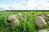 stock photo of field_stone  - Big stones picked from agricultural fields and cloudy sky.
