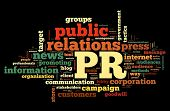 Public relations concept in word tag cloud on black background