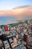 Chicago downtown aerial panorama view at sunset with skyscrapers and city skyline at Michigan lakefr