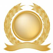 Gold Laurel Wreath And Banner
