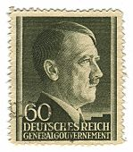 GERMANY - CIRCA 1943: A stamp printed in Germany shows image of Adolf Hitler was an Austrian-born Ge
