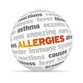 stock photo of sinus  - 3d Allergies Word Sphere on white background - JPG