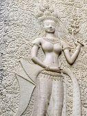 Dancing Apsara On The Wall Of Angkor Wat