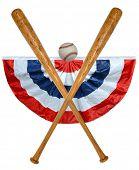 Постер, плакат: Бейсбольные биты мяч и знамя изолированные на белом фоне