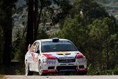 Pombal, Portugal - September 22: Victor Pascoal Drives A Mitsubishi Lancer Evo Vii During Rally Cent