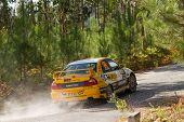Pombal, Portugal - September 22: Daniel Nunes Drives A Mitsubishi Lancer Evo Vi During Rally Centro