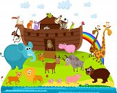 image of sea cow  - vector illustration of a cute Noah - JPG