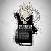 Grunge banner with an inky dribble strip with halloween skull. copy space
