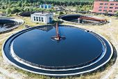 picture of reprocess  - Top view on round form water treatment primary radial settler - JPG