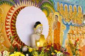 Buddha Statue With Painted Mural Background