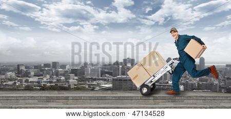 Постер, плакат: Запуск доставки почтальона Доставка и услуги транспорта , холст на подрамнике