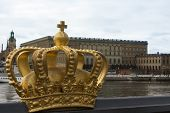 Golden Crown In Front Of Stockholm Castle