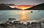 Sonnenuntergang am Lake Wakatipu, Queenstown, Neuseeland