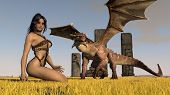 picture of woman dragon  - girl and the dragon - JPG