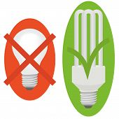 foto of waste reduction  - Incandescent light bulb on red background with cross and lamp low consume on background green with check mark - JPG