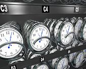 Many clocks in a vending machine to illustrate the importance and fleeting nature of time and the desire to buy more and make a moment last longer