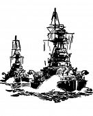Approaching Battleships - Retro Clip Art Illustration