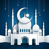 stock photo of hari raya  - 3d mosque and crescent moon with stars  - JPG