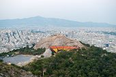 View of Athens and Lycabettus theater