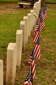 A row of American soldiers' graves