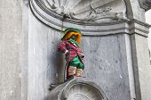Manneken Pis Dressed As A Clown Red.
