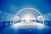 picture of underpass  - fast life in the City with lot of Business People in underpass - JPG