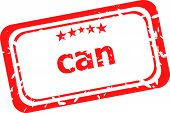 Can On Red Rubber Stamp Over A White Background