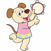 Cartoon Dog Playing A Tambourine