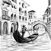 image of gondolier  - Gondola in Venice vector sketch - JPG