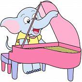 Dibujos animados Elefante jugando un Pinao