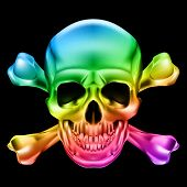 image of skull crossbones  - Rainbow Skull and Crossbones - JPG
