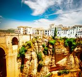 Ronda, Spain. Panoramic view of the old city of Ronda, the famous white village, at sunset. Province