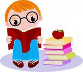 A little boy reading book