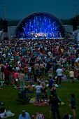MOSCOW - JUNE 15: Boris Grebenshchikov and Aquarium group performs on open-air X International Festi
