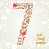 The number Seven. Bright floral element of colorful alphabet made from birds, flowers, petals, hearts and twigs. Summer floral ABC element in vector