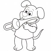 Cartoon Dog Playing A Trombone