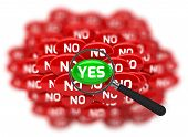 word Yes and No with Magnifying glass