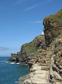 Seascape Cliffs With Footpath Steps