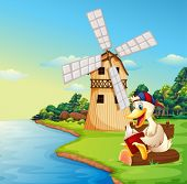 Illustration of a duck reading a book near the windmill