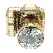 golden camera with diamonds