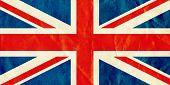 British Union Jack flag on old textured paper.