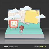 Girl Watching Tv On Book. Vector Design.