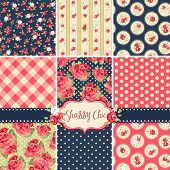 image of stitches  - Shabby Chic Rose Patterns and seamless backgrounds - JPG