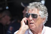 Fort Worth, TX - Jun 07, 2013:  Mario Andretti watches the IZOD IndyCar Series teams take to the tra